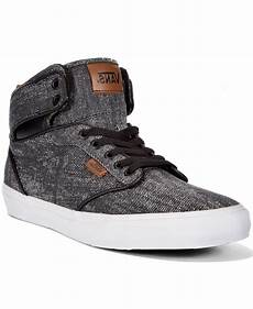vans s atwood hi washed twill sneakers in black for