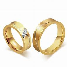 fashion 18k gold couple rings for men smooth design