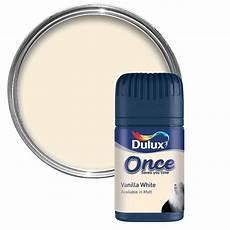 dulux once vanilla white matt emulsion paint 0 05l tester pot departments diy at b q