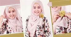 I K Yumitasari Gaya Jilbab Segi Empat Dengan Korsase Bunga