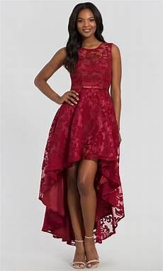 chiffon short lace high low wedding guest dress