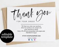 thank you packaging card template etsy thank you cards etsy