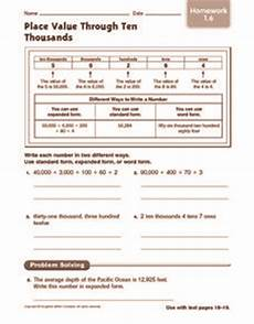 place value worksheets to ten thousands 5287 place value through ten thousands homework 3rd 4th grade worksheet lesson planet