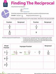 fraction math find the reciprocal worksheet education