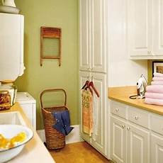 calm green laundry room home interiors