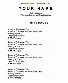 reference sheet template careers resume references