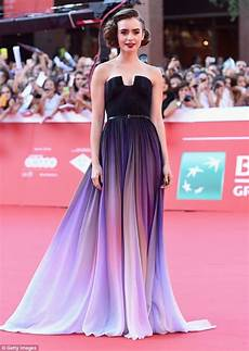 lily collins looks majestic in lavender dress at the love rosie premiere in rome daily mail