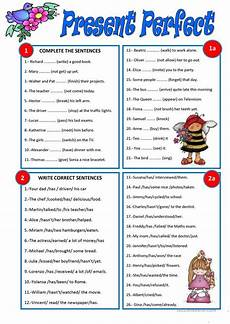 present perfect english esl worksheets