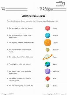 primaryleap co uk solar system match up worksheet solar system activities solar system