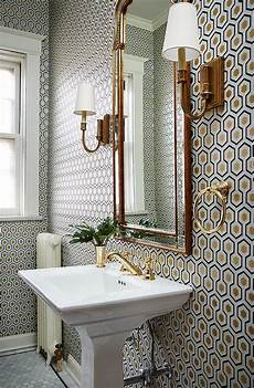 Wall Ideas For A Bathroom by Hicks Hexagon Wallpaper In Powder Room Transitional