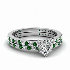 classic delicate heart shaped diamond wedding ring with emerald in 14k white gold