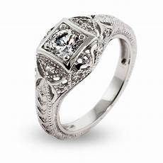 vintage deco style cz engagement ring s addiction 174