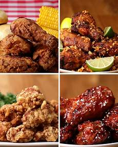 4 types of fried chicken from different countries fried