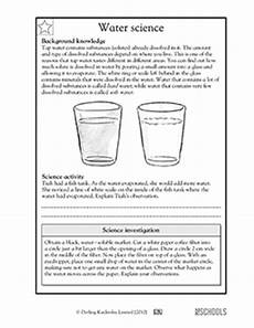 5th grade science worksheets all about tap water