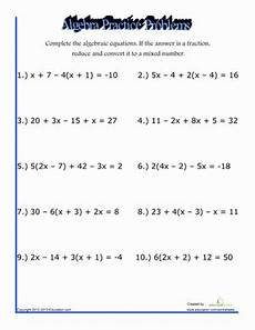 algebra practice problems worksheet education com