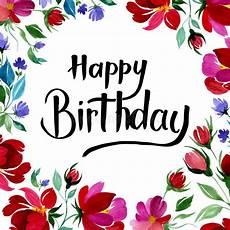 Aquarell Malvorlagen Happy Birthday Happy Birthday Card In Watercolor With Flowers Stock