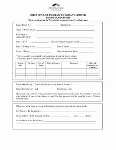 fillable online birla sun life insurance company limited death claim form fax email print