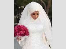 Elegant Islamic Wedding Dresses A Line Full Sleeve Arab