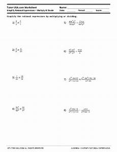 worksheet simplify rational expressions multiply and divide fractions algebra printable