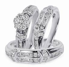 1 1 1 10 carat t w diamond trio matching wedding ring set 14k white gold bt503w14k jpg