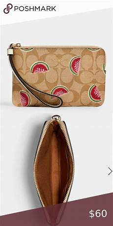 Watermelon Design Disc Carry Wallet by Coach Corner Zip Wristlet With Watermelon Print Signature