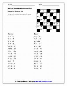 math cross number worksheet addition and subtraction