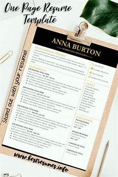 professional resume template burton one page resume
