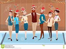 businesspeople celebrate merry christmas and happy new year office business team santa