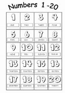 numbers from 1 to 20 picture dictionary esl worksheet by poleta