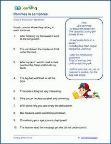 punctuation worksheets for grade 3 k5 20988 punctuating sentences with commas worksheets k5 learning