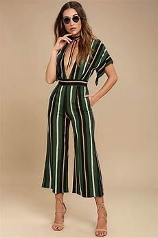Faithfull The Brand Cedric Green Striped Jumpsuit Midi