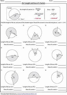 geometry worksheets area of sectors 843 arc length and area of sector worksheets