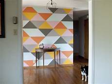 A Striped Hallway Nook Triangle Wall Geometric Wall