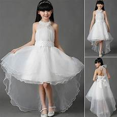 girls white flower bridesmaid party wedding pearl dress kids dresse age 2 13year ebay