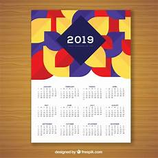 colourful geometric calendar for 2019 vector free download