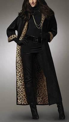 winter mantel lang damen gr 36 schwarz braun leo velours