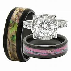 his and hers 3pcs titanium camo 925 sterling silver