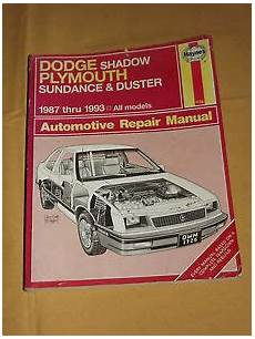 how to download repair manuals 1993 plymouth sundance spare parts catalogs dodge shadow plymouth sundance duster 1987 1993 haynes auto repair manual ebay