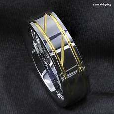 silver tungsten carbide ring infinity 18k gold inlay wedding band men s jewelry ebay