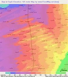 bayt amir yemen map elevation of bayt al faqih yemen elevation map topography contour