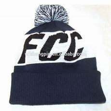 Letter Ribbed Beanie fcc capital letters bobble beanie ribbed cuff winter