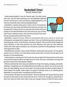 basketball time reading comprehension worksheet have fun teaching