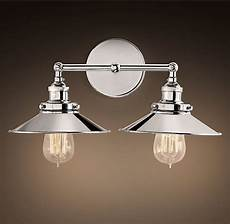 20th c factory filament metal double sconce restoration hardware bathroom bathroom lighting