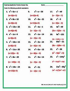 factoring quadratic trinomials worksheet by mitchell s math madhouse