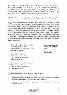 poetry analysis worksheet with answers 25533 quot she dwelt among the untrodden ways quot w wordsworth igcse worksheets answers teaching