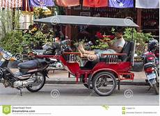 siem reap cambodia 25 march 2018 tuk tuk driver rests