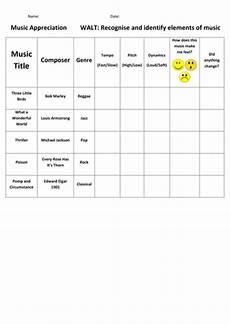 music appreciation sheet ks2 by katemccarthy93 teaching