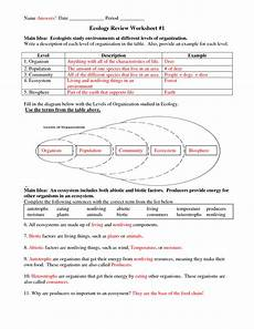 science worksheets biology 12123 six levels of ecology ecology review worksheet 1 answers science worksheets