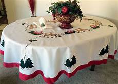 Vintage Embroidered Santa Tablecloth Oval White