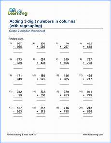 grade 2 worksheet add two 3 digit numbers in columns with carrying k5 learning